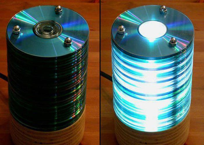 luminaria com cds - reciclar cds
